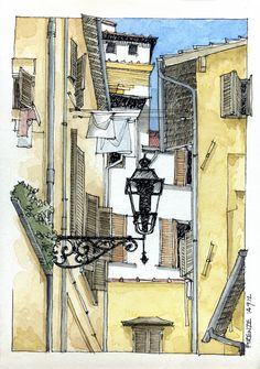 JR Sketches: Italia 6º Set 2012. 17x24, Pen & Watercolor