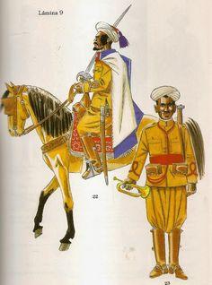 TABORES DE CABALLERIA - 1913  Fig. 22 - Caid en uniforme de parada.  Fig. 23 - Corneta. Civilization, Samurai, Battle, Spanish, Empire, Army, History, Military Uniforms, Artwork