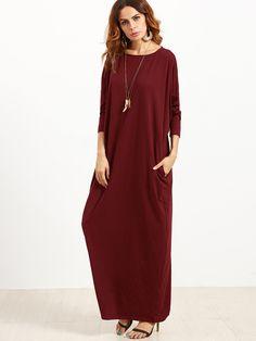 MakeMeChic - MAKEMECHIC Pocket Side Dolman Sleeve Cocoon Dress - AdoreWe.com