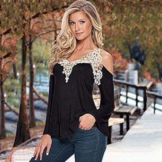 Fashion-Womens-Lady-Boho-Lace-Crochet-Long-Sleeve-Casual-Tee-Tops-T-shirt-Blouse