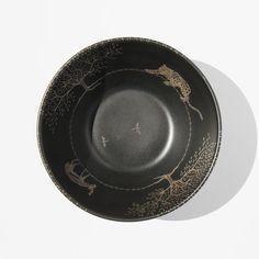 Emilia Castillo Silver Overlay Safari Pottery Bowl kindred black