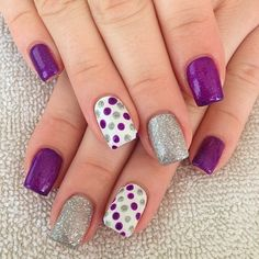 """#gelnails in purple, silver and white with #polkadots #nailsbydesiree"""