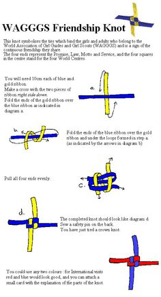 WAGGGS Knot for International Day/Thinking Day pot latches/swaps  Nice instructions and explanation- looks simple to make (once you have the steps down!).