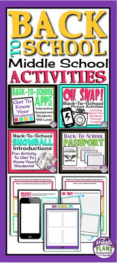 Use these back to school resources to help you get through the first days of of middle school with your students! The bundle includes fun assignments, activities, and eye-catching posters for bulletin display.