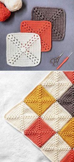 Farmhouse Granny Square Blanket Free Crochet Pattern + Video - Knitting is so . - Farmhouse Granny Square Blanket Free Crochet Pattern + Video – Knitting is as easy as 3 Kni - Crochet Blocks, Granny Square Crochet Pattern, Granny Square Tutorial, Free Crochet Square, Crochet Granny Square Beginner, Crochet Designs, Crochet Patterns, Crochet Ideas, Crochet Quilt Pattern