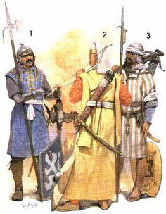 Principales troupes ottomanes au XV ème siècle 1- Voynuk, auxiliaire valaque, vers 1500. 2- Archer janissaire de la garde du sultan (chausures jaunes), XV ème siècle. 3- Marin magrebin du début du XVI ème siècle, équipé de l'arbalète caractéristiques de la marine maure.