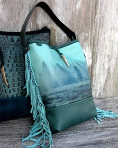 Wilderness Collection Leather Fringe Bag in Turquise and Teal Elk Scene by Stacy Leigh