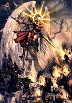 sacred-fox:  A Living Saint guiding fellow Adeptus Sororitas into battle. The cherubim are terrifically creepy.