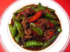 Black Bean Chili Sauce Beef with Sugar Snap Peas (黑豆辣椒蜜豆牛肉, Hak1 Dau6 Laat6 Ziu1 Mat6 Dau6 Ngau4 Juk6)