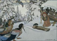 Russian Folklore Folk Art, Baba Yaga, Russian Folk, Russian Art, Ivan Bilibin, Fairytale Art, Children's Book Illustration, Illustrations And Posters, Russian Mythology