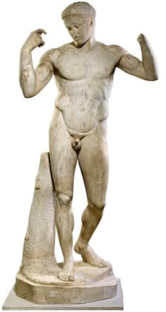 Marble figure of a victorious athlete, Roman version of a Greek bronze original of about 440–430 B.C.E., 183 cm, found at Vaison, France © The Trustees of the British Museum