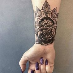 10 Stylish Wrist Tattoo Ideas for Women: #6. FLORAL MANDALA TATTOO