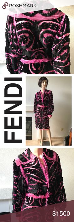 Fendi 2 pc suit trimmed mink appliqué on tulle Under the creative direction of Karl Lagerfeld, heritage doesn't have to mean traditional. 2 pieces suit - jacket and skirt, on pink tulle baroque style black trimmed mink fur appliqué. Italian Size 42, US 4. Original price for the jacket was $24,999, skirt $11,499. Skirt is fitted, jacket has 2 long pink ties. Made in Italy, authentic. Fendi Dresses Midi