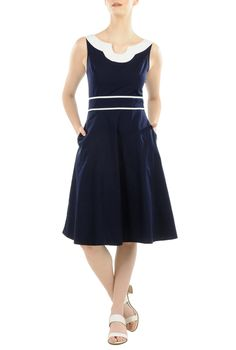 Contrast trim poplin dress. Expertly curved seaming accentuates the fit-and-flare silhouette of our sleeveless poplin dress - See more at: http://spenditonthis.com/listing-42104-contrast-trim-poplin-dress.html#sthash.Y5IZZjBc.dpuf