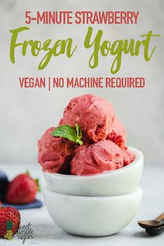 Making frozen yogurt at home has never been easier. All you need are 4 simple ingredients and 5 minutes of your time. Seriously, that's it! #vegan #frozenyogurt #froyo #homemade #4ingredients #5minutes #nochurn #nomachine #strawberry #dessert #summer #snack #kids #sweetsimplevegan
