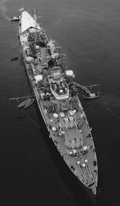 HMCS Ontario, a Minotaur class Light Cruiser. Built by Harland & Wolff, Belfast for the Royal Navy as HMS Minotaur & was launched on 29/07/43. Transferred to the Royal Canadian Navy & renamed in July '44. She was commissioned 25/05/45. She sailed to join 4th Cruiser Squadron in the Pacific, but arrived to late to see active service. After WW II was used as a training ship being decommissioned 15/10/58 & arrived in Osakak for scrapping on 19/11/60.