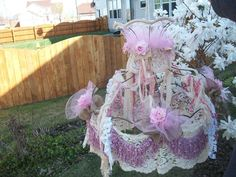 Lamp shade shabby cottage pinks and whites by AnitaSperoDesign, $220.00