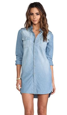 long chambray tunic, with black leggings
