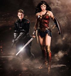 Chris Pine as Steve Trevor and Gal Gadot as Wonder Woman