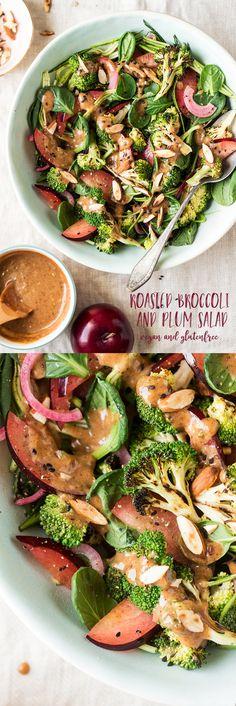 #salad #plum #plums #almond #almondbutter #homemade #sauce #vegan #vegetarian #glutenfree #lunch #healthy #zoodles #broccoli #roastedbroccoli