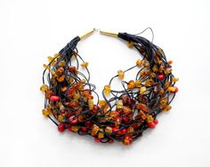 black linen cord, amber and coral - necklace