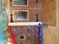 """Kingdom rock vbs.--hinges on doors. fantastic."" An easy way to make the doors look castle-y!"