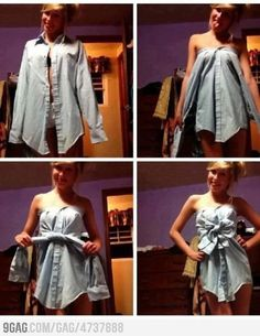 Great idea for a cute and quick top! Totally stealing bf's shirts to try this!