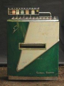 era cigarette vending machine by Eastern Electric Vending Machine Corp. Vintage Games, Retro Vintage, Vendor Machine, Cigarette Vending Machine, Vintage Appliances, Art Deco Furniture, Antique Furniture, Drag, Gumball Machine