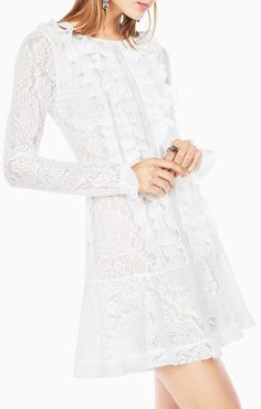 Buy BCBGMAXAZRIA Women's White Guinevere Ruffled Lace Dress, starting at $228. Similar products also available. SALE now on!
