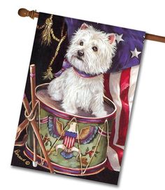 """West Highland Terrier Patriotic House Flag: Flag Size: 28"""" x 40"""" Flag stand sold separately Proudly Printed in the USA Vibrant colors printed on a poly/cotton outdoor quality fabric. Digitally printed"""