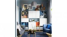 IKEA : 25 idées pour combiner les éléments EKET dans la maison Ikea, Office Shelf, Decoration, Floor Chair, Shelving, Diy Projects, Room Decor, Flooring, Living Room