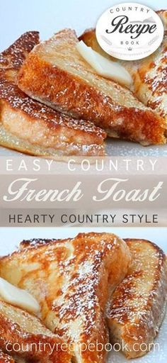 This is a super easy way to make delicious country style French Toast food breakfast Easy Country French Toast What's For Breakfast, Breakfast Dishes, Breakfast Recipes, Dessert Recipes, Kraft Recipes, Country Breakfast, Food Recipes For Dinner, Hangover Breakfast, Morning Breakfast