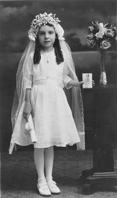 Charming little girl, First Communion photo.  Saved from Ebay