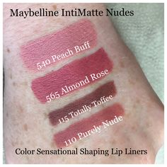 Maybelline's new IntiMatte Nudes Lipsticks in Peach Buff and Almond Rose; and Color Sensational Lip Liners in Purely Nude and Totally Toffee. Lipsticks have the same finish as their Loaded Bolds lipsticks and are super creamy, comfortable (not drying), and pretty good wear time too! Lip liners are very creamy and glide on so easily. You can also wear them alone for a sleek super Matte look that absolutely will not budge!