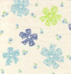 HALF YARD Yuwa Fabric - Lace Bows and Mini Flowers on Cream - 30s Collection by Atsuko Matsuyama - Japanese Import Fabric by fabricsupply on Etsy