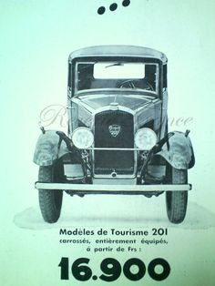 Art Deco Vintage French Ad Peugeot Automobile by reveriefrance