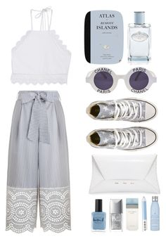 """""""greyish blue cullote"""" by jjannata ❤ liked on Polyvore featuring Zimmermann, Converse, Chanel, Prada, Front Row Shop, VBH, Lauren B. Beauty, Christian Dior, Marc Jacobs and Drybar"""