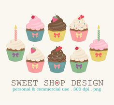 Cupcakes Clip Art Food Clip Art Birthday Clip by SweetShopDesign, $4.95