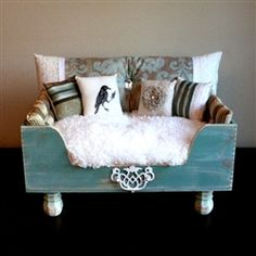Luxury Designer Teal  Cream Antique Dog Bed ..Maybe Nate can learn how to make something like this for our little princess.