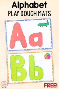 These alphabet play dough mats make learning letters fun while developing fine motor skills. - Education and lifestyle Playdough Activities, Printable Activities For Kids, Letter Activities, Preschool Printables, Kids Learning Alphabet, Learning Letters, Preschool Learning, Preschool Kindergarten, Letters Kindergarten