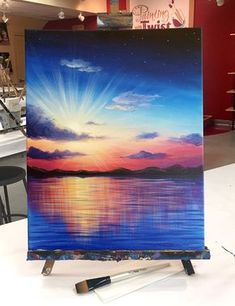 """Gorgeous colors of """"A New Day"""" at Painting with a Twist! Wunderschöne Farben von """"A New Day"""" bei Painting with a Twist! Diy Canvas Art, Acrylic Painting Canvas, Paintings On Canvas, Painting Art, 3 Canvas Painting Ideas, Painting Techniques Canvas, Oil Pastel Techniques, Acrylic Painting Inspiration, Bob Ross Paintings"""