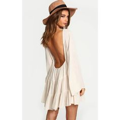 White Flare Long Sleeves Open Back Loose Dress ($25) ❤ liked on Polyvore