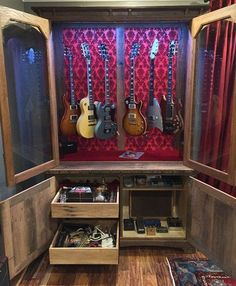 Gitarre Oak Barn Wood Guitar Display Cabinets A Healthy Dose Of Trust Works Wonders With Your Email Guitar Display Case, Guitar Storage, Home Studio Musik, Music Studio Room, Guitar Wall, Guitar Room, Home Music Rooms, Mundo Musical, Guitar Cabinet