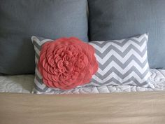 coral and gray colored nurserys | Coral and Gray felt flower pillow cover by urbanfringe on Etsy
