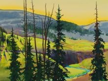 "Late Light, View from Camp off Pole Creek 20 1/2"" X 27 1/2"" Stephen Quiller"