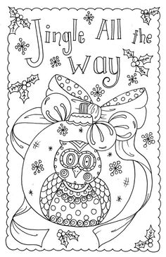 Coloring Owl Christmas Cards You Be The Artist By ChubbyMermaid Zentangle Book Pages Colouring Adult