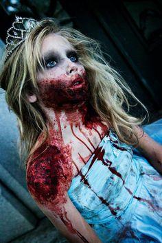 Zombie Prom Queen Halloween Makeup for Kids