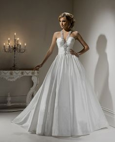gorgeous embellished halter wedding dress with full skirt