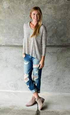 Ripped and Destroyed Boyfriend Jeans. The true fitting boyfriend jean is great for a laid back look. Shop them now!