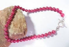 "Beautiful 19"" Large 10mm round Genuine Rhodochrosite  & Sterling Silver Bead Necklace!"